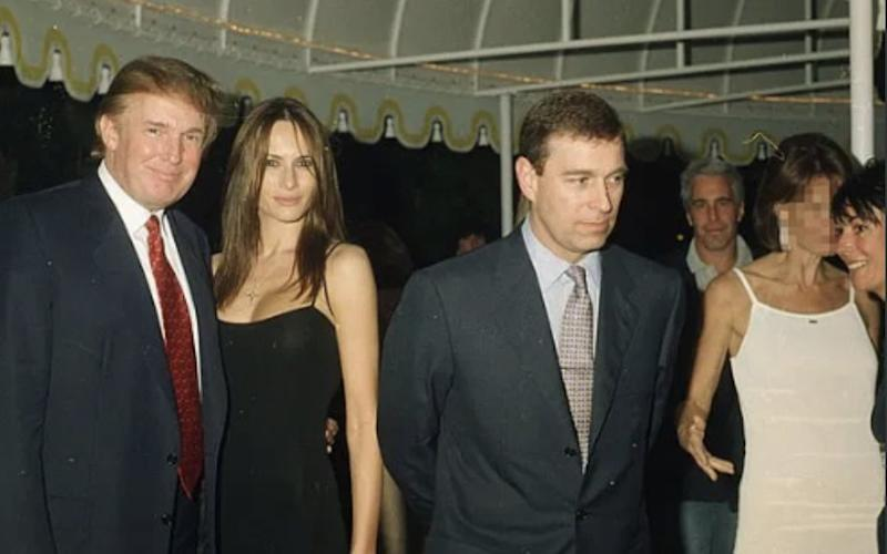 Trump pictured with wife Melania, alongside Prince Andrew. Jeffrey Epstein is pictured in the background. Source: Twitter/Paul Waugh