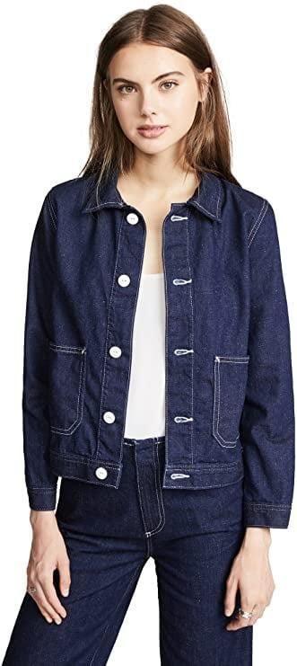 <p>As someone who owns <em>several</em> jean jackets, I firmly believe that this layer can bring an effortless cool to any look. But since a person can never have too much denim, I'm low-key obsessed with the <span>AG Adriano Goldschmied Women's Avenall Jacket</span> ($150). The white buttons and contrasting threading throughout give this coat an elevated, compliment-worthy edge. (Translation? It's the perfect thing to wear when it's not too hot but not too cold.) </p>