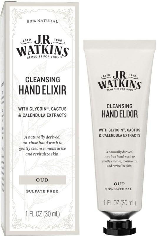 """<h3>J.R. Watkins Cleansing Oud Hand Elixir<br></h3> <br>This plant-based rinse-free hand wash leaves hands feeling softer than before use — and contains water and denatured alcohol to gently cleanse. <br><br><strong>J.R. Watkins</strong> Cleansing Oud Hand Elixir, $, available at <a href=""""https://www.ulta.com/cleansing-oud-hand-elixir?productId=pimprod2014906"""" rel=""""nofollow noopener"""" target=""""_blank"""" data-ylk=""""slk:Ulta Beauty"""" class=""""link rapid-noclick-resp"""">Ulta Beauty</a><br>"""
