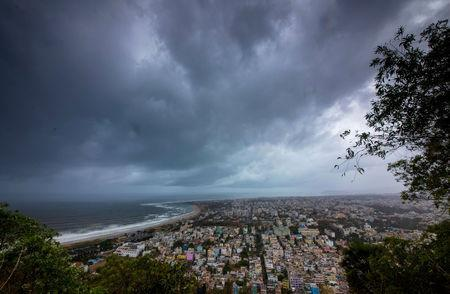Clouds loom ahead of cyclone Fani in Visakhapatnam, May 1, 2019. REUTERS/Stringer