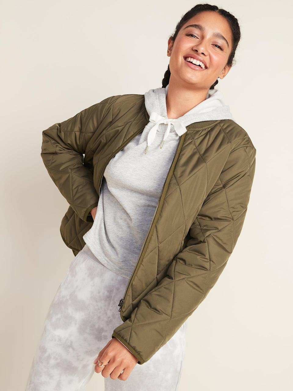 <p>Throw this <span>Diamond-Quilted Zip Jacket</span> ($38, originally $50) on literally anything for a put-together finish.</p>