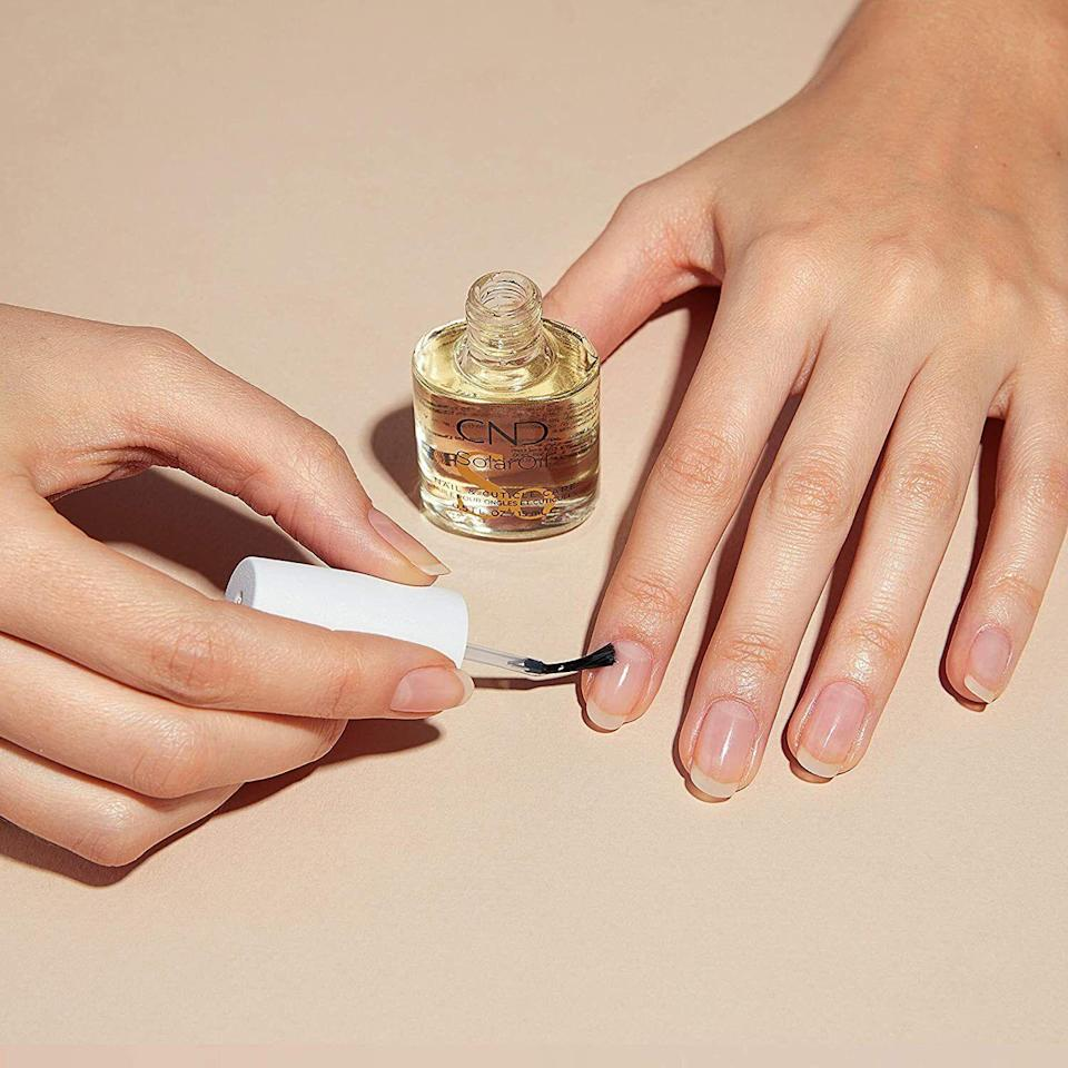 """You simply brush this on your nail beds once a day to condition and strengthen all those brittle spots and hangnails. It will leave you with thick, healthy nails and nail beds that a professional doesn't have to work on every few weeks.<br /><br /><strong>Promising review:</strong>""""It's a miracle!<strong>I had peeling, weak nails for years. Tried everything.</strong>A friend recommended a nail strengthener they saw on QVC. It was quite pricey and I wanted to make sure it was worth it so I read the reviews.<strong>One of the comments said just buy Solar Oil.</strong>Since it was much more affordable than the QVC stuff, I tried it. I bought it in February. This size bottle lasted a bit more than a month religiously applying it two to three times a day. I was really seeing great improvement so I bought another bottle in late March.<strong>By May, all the peeling had grown out and my nails were getting stronger every day</strong>. I then bought the big 4-ounce refill bottle because I never want to run out of it again!<strong>Cannot recommend this stuff enough!</strong>"""" —<a href=""""https://www.amazon.com/gp/customer-reviews/R2BM2CSR5Y6PPM?&linkCode=ll2&tag=huffpost-bfsyndication-20&linkId=08336872c8074f971563f55ac91ba25f&language=en_US&ref_=as_li_ss_tl"""" target=""""_blank"""" rel=""""noopener noreferrer"""">Diana</a><br /><br /><strong>Get it from Amazon for <a href=""""https://www.amazon.com/dp/B0037MIMLW?&linkCode=ll1&tag=huffpost-bfsyndication-20&linkId=19690d634dfcd37d149fc6c3d229d83f&language=en_US&ref_=as_li_ss_tl"""" target=""""_blank"""" rel=""""noopener noreferrer"""">$8.50</a>.</strong>"""