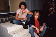 <p>Bob Dylan and Tom Petty pose at Farm Aid on September 22, 1985 in Champaign, Illinois.</p>