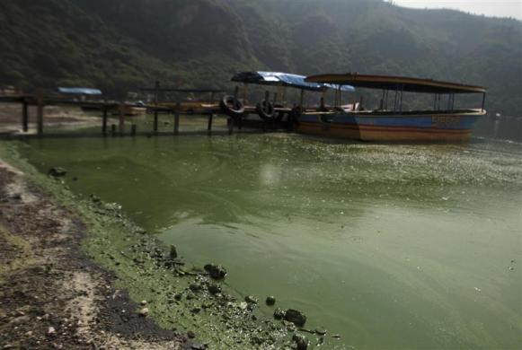 Boats are docked at the polluted Amatitlan Lake, 30 km (18 miles) south of Guatemala City June 5, 2012.