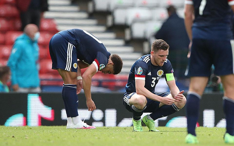 Andy Robertson of Scotland is seen at full time during the UEFA Euro 2020 Championship Group D match between Scotland v Czech Republic - Getty Images