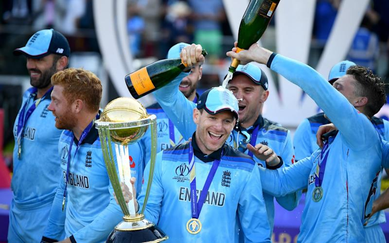 England captain Eoin Morgan lifts the World Cup - GETTY IMAGES