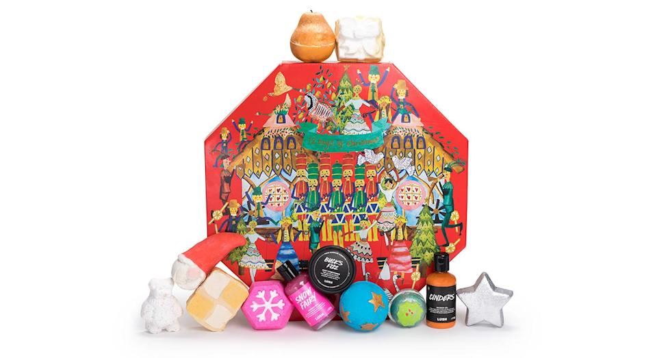 """<p>Bath lovers, rejoice! This year's Lush 12 Days of Christmas gift set is sure to make the run-up to the festive season a relaxing one thanks to its wide range of bath bombs and soaps. Available nationwide <a rel=""""nofollow noopener"""" href=""""https://uk.lush.com/products/christmas-gifts/12-days-christmas"""" target=""""_blank"""" data-ylk=""""slk:now"""" class=""""link rapid-noclick-resp"""">now</a> for £75. </p>"""