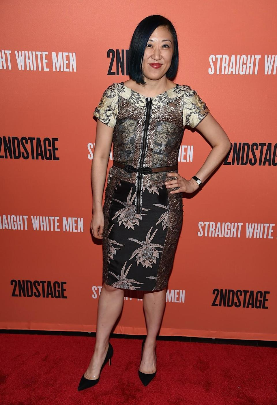 """Young Jean Lee on opening night of """"Straight White Men"""" on Broadway in 2018."""