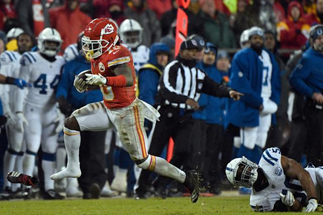 A three-time Pro Bowler, Tyreek Hill showed up for Chiefs offseason workouts this week. (AP)