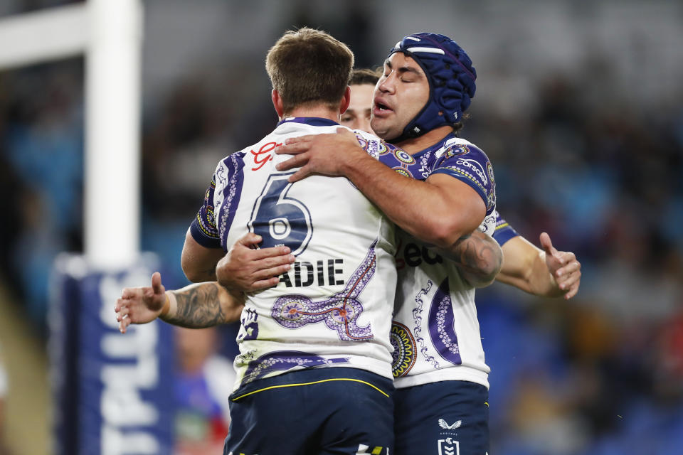 Seen here, Melbourne Storm players celebrate during their win over the Newcastle Knights in round 18.