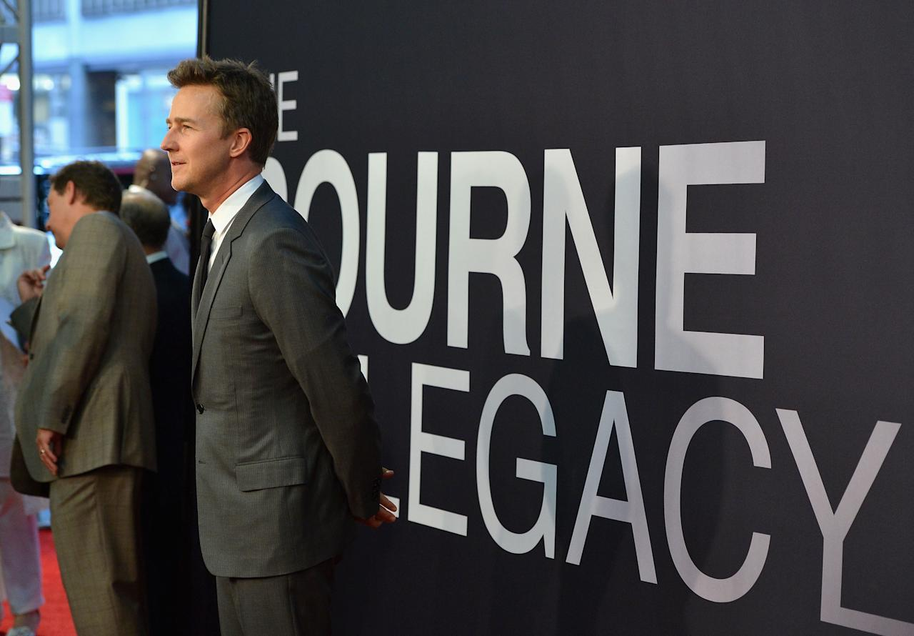 "NEW YORK, NY - JULY 30:  Edward Norton attends ""The Bourne Legacy"" New York Premiere at Ziegfeld Theater on July 30, 2012 in New York City.  (Photo by Larry Busacca/Getty Images)"