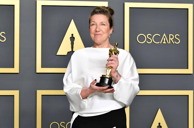 """Costume designer Jacqueline Durran, winner of the Costume Design award for """"Little Women,"""" poses in the press room during the 92nd Annual Academy Awards at Hollywood and Highland on February 09, 2020 in Hollywood, California. (Photo by Amy Sussman/Getty Images)"""