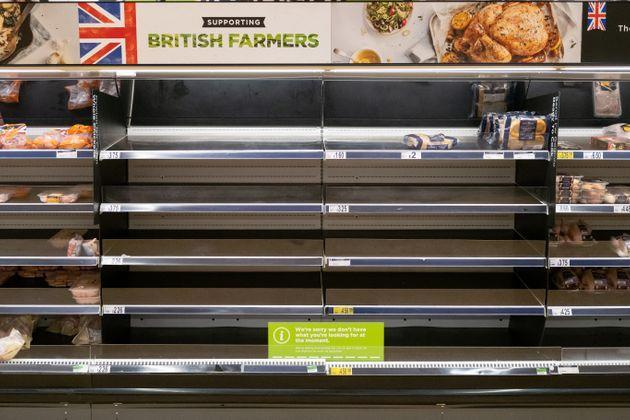 Empty shelves in an ASDA store in Cardiff in October (Photo: Matthew Horwood via Getty Images)