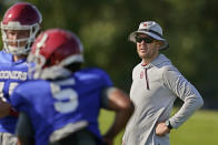 FILE - In this Aug. 10, 2021, file photo, Oklahoma head coach Lincoln Riley watches during an NCAA college football practice in Norman, Okla. (AP Photo/Sue Ogrocki, File)