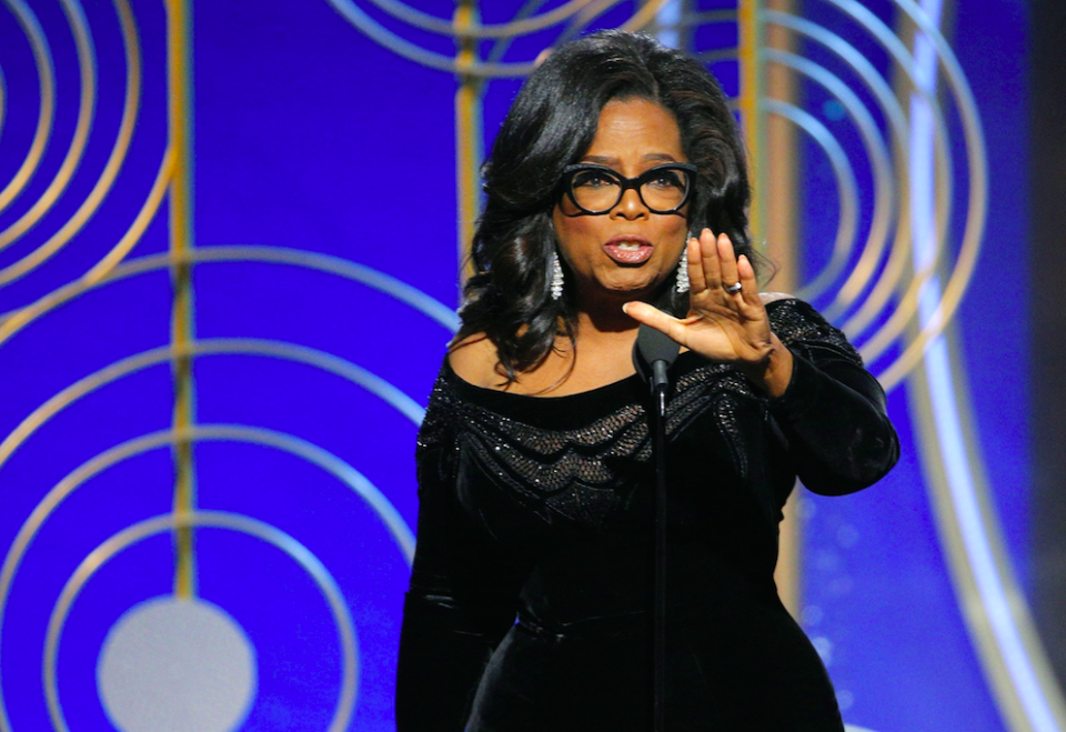Ms Winfrey has been praised for her speech at the Golden Globes (Picture: Rex)