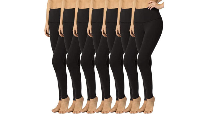Syrinx High-Waisted Control Leggings come in 7-packs of all-black or a variety of colors. (Photo: Amazon)