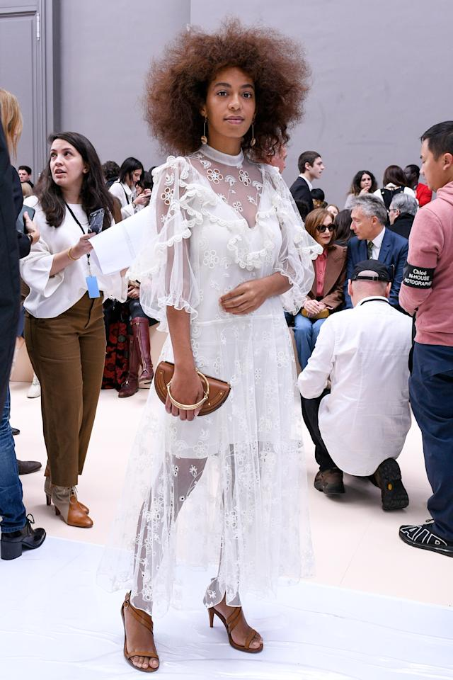 <p>Solange Knowles in Chloé at the Chloé Fall 2017 show in Paris, France, March 2017.</p>
