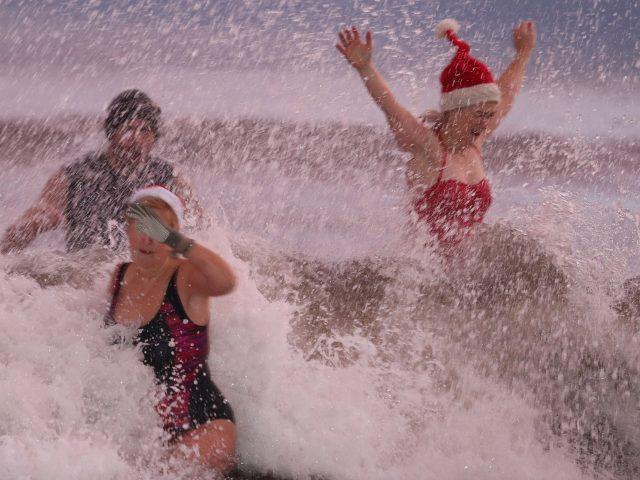 These brave swimmers will be ready for their Christmas dinner