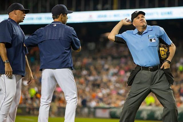 Mike Everitt ejected four members of the Tigers on Saturday. (Getty Images/Dave Reginek)