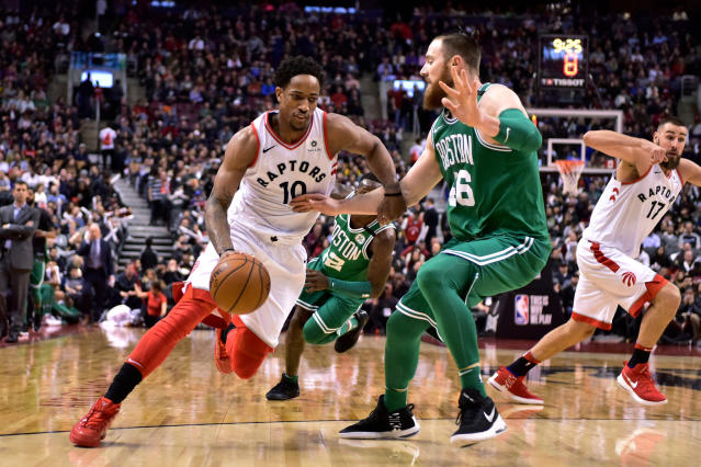 DeMar DeRozan and the Raptors got a much-needed win over a depleted Celtics team to move within one win of locking up the East's No. 1 seed. (THE CANADIAN PRESS/Frank Gunn)