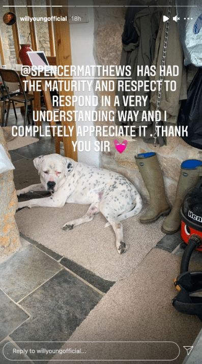 A photograph of a dog lying on the floor by a pair of wellies with text which reads: '[Spencer Matthews] has had the mature and respect to respond in a very understanding way and I completely appreciate it. Thank you, sir.'