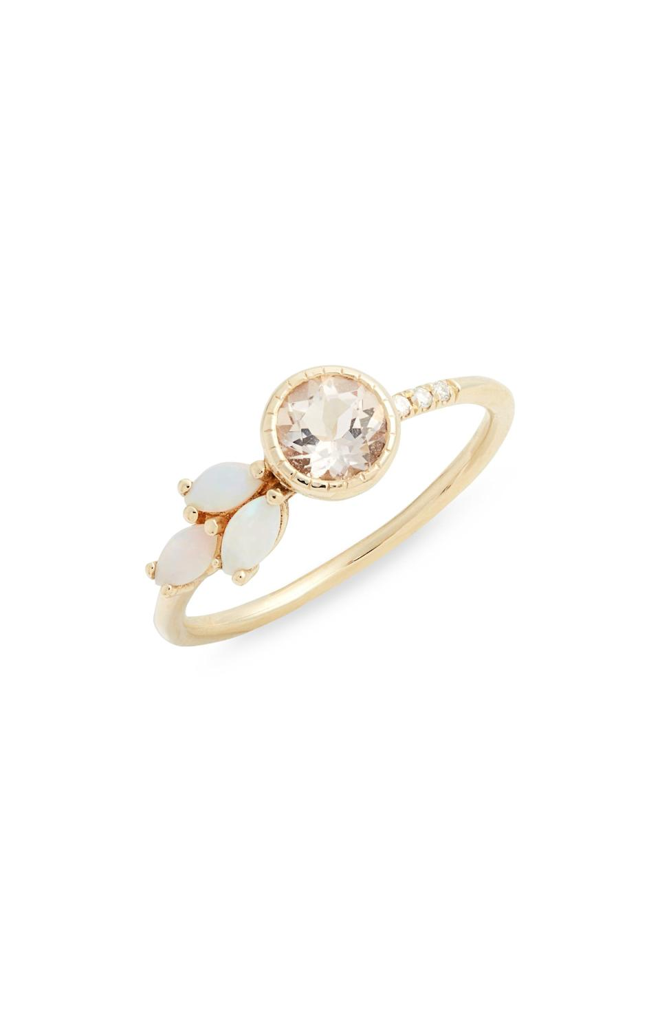 """<p><strong>JENNIE KWON DESIGNS</strong></p><p>nordstrom.com</p><p><strong>$825.00</strong></p><p><a href=""""https://go.redirectingat.com?id=74968X1596630&url=https%3A%2F%2Fwww.nordstrom.com%2Fs%2Fjennie-kwon-designs-morganite-diamond-opal-leaf-ring%2F5422431&sref=https%3A%2F%2Fwww.townandcountrymag.com%2Fstyle%2Fjewelry-and-watches%2Fg36027432%2Fbest-sustainable-jewelry-brands%2F"""" rel=""""nofollow noopener"""" target=""""_blank"""" data-ylk=""""slk:Shop Now"""" class=""""link rapid-noclick-resp"""">Shop Now</a></p><p>L.A. designer Jennie Kwon makes each of her delicate pieces from fairmined gold and ethically sourced gemstones. Her romantic jewels also make for <a href=""""https://www.jenniekwondesigns.com/collections/bridal"""" rel=""""nofollow noopener"""" target=""""_blank"""" data-ylk=""""slk:stunning engagement rings"""" class=""""link rapid-noclick-resp"""">stunning engagement rings</a>. </p>"""