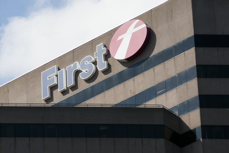 A logo sign outside of the headquarters of FirstGroup America, Inc., in Cincinnati, Ohio on June 29, 2017. Photo by Kristoffer Tripplaar *** Please Use Credit from Credit Field ***