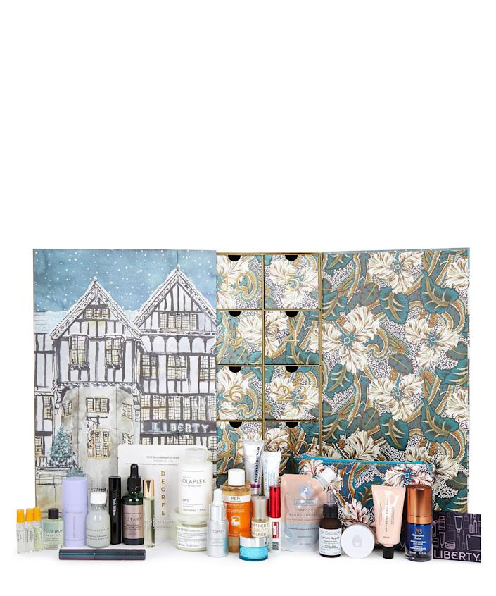"""<p><strong>Liberty London</strong></p><p>libertylondon.com</p><p><strong>$295.00</strong></p><p><a href=""""https://go.redirectingat.com?id=74968X1596630&url=https%3A%2F%2Fwww.libertylondon.com%2Fus%2Fthe-liberty-beauty-advent-calendar-2021-000733290.html&sref=https%3A%2F%2Fwww.townandcountrymag.com%2Fstyle%2Ffashion-trends%2Fnews%2Fg2970%2Ffancy-advent-calendars%2F"""" rel=""""nofollow noopener"""" target=""""_blank"""" data-ylk=""""slk:Shop Now"""" class=""""link rapid-noclick-resp"""">Shop Now</a></p><p>It's no coincidence that this calendar is Liberty London's fastest selling product every year; it's positively packed with cult favorite beauty products and the hottest new launches from brands like Olaplex, Augustinus Bader, Davines, and 111Skin. And, since you won't want to share, they've even developed<a href=""""https://go.redirectingat.com?id=74968X1596630&url=https%3A%2F%2Fwww.libertylondon.com%2Fus%2Fthe-mens-advent-calendar-2021-000733291.html&sref=https%3A%2F%2Fwww.townandcountrymag.com%2Fstyle%2Ffashion-trends%2Fnews%2Fg2970%2Ffancy-advent-calendars%2F"""" rel=""""nofollow noopener"""" target=""""_blank"""" data-ylk=""""slk:a men's version too"""" class=""""link rapid-noclick-resp""""> a men's version too</a>. </p><p><strong>More: </strong><a href=""""https://www.townandcountrymag.com/style/g23876801/mens-advent-calendars/"""" rel=""""nofollow noopener"""" target=""""_blank"""" data-ylk=""""slk:Festive Advent Calendars for Men"""" class=""""link rapid-noclick-resp"""">Festive Advent Calendars for Men</a></p>"""