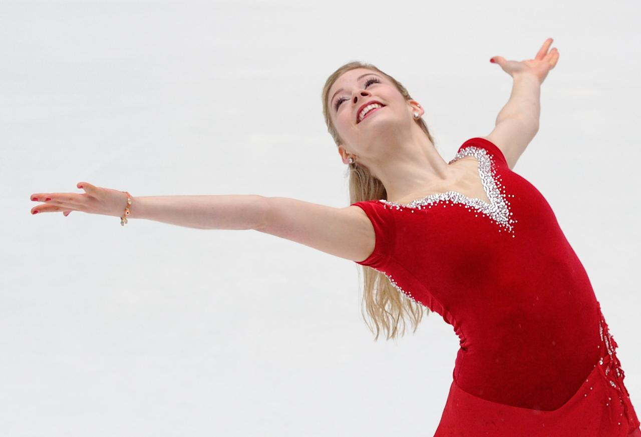 NEW YORK, NY - JANUARY 14: Olympic figure skater Gracie Gold performs at The Rink at Rockefeller Center on January 14, 2014 in New York City. (Photo by Maddie Meyer/Getty Images)