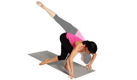 <p>Stand near the top of the mat with your feet together; hinge forward from your hips and touch hands to floor a few inches in front of feet, keeping elbows bent. Lift your left leg diagonally behind you toward the right. Bending your right knee, swing your left knee back down behind right leg toward the outside of your right knee. Extend your left leg behind you again as you straighten right leg; repeat. Do 10 reps, switch sides and repeat. Do 3 sets.</p>