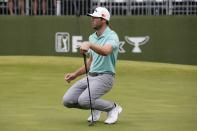 Sam Burns watches his putt on the 17th green during the final round of the AT&T Byron Nelson golf tournament in McKinney, Texas, Sunday, May 16, 2021. (AP Photo/Ray Carlin)