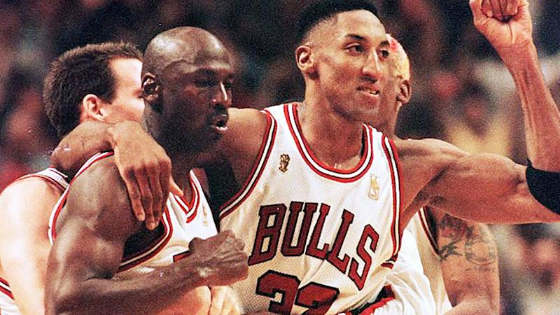 Michael Jordan is pictured with Chicago Bulls teammate Scottie Pippen.