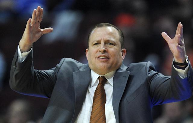Chicago Bulls head coach Tom Thibodeau looks on during the first half of an NBA preseason basketball game against the Milwaukee Bucks in Chicago, Monday, Oct. 21, 2013. (AP Photo/Paul Beaty)