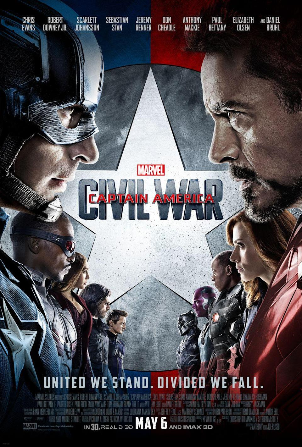 """<p>In the third Captain America movie, it's heroes vs. heroes. The government has decided to push for a hero registration act, and while Iron Man and several of the other heroes are in favor, Captain America and his team don't agree. No matter who you side with, it's a fun, action-packed movie. </p><p><a class=""""link rapid-noclick-resp"""" href=""""https://go.redirectingat.com?id=74968X1596630&url=https%3A%2F%2Fwww.disneyplus.com%2Fmovies%2Fmarvel-studios-captain-america-civil-war%2F4ovfyKnnIBCg&sref=https%3A%2F%2Fwww.womansday.com%2Flife%2Fentertainment%2Fg36156094%2F4th-of-july-movies%2F"""" rel=""""nofollow noopener"""" target=""""_blank"""" data-ylk=""""slk:STREAM NOW"""">STREAM NOW</a><br></p>"""