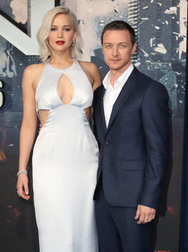 """<p>Showing off her new icy blond locks, the star attends the premiere for her third <i>X-Men </i>movie with co-star <a href=""""https://www.yahoo.com/entertainment/tagged/james-mcavoy"""" data-ylk=""""slk:James McAvoy"""" class=""""link rapid-noclick-resp"""">James McAvoy</a> on May 9, 2016, in London. (Photo: Getty Images) </p>"""
