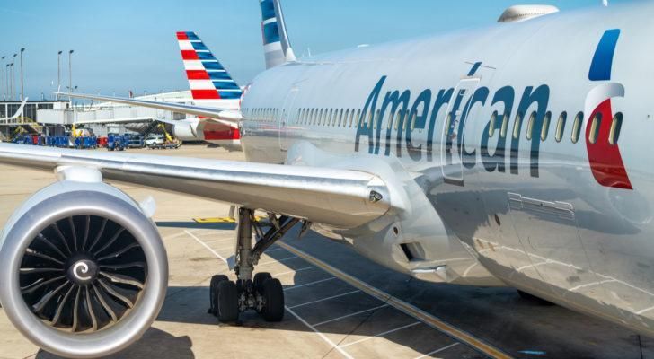 An American Airlines (AAL) airplane waiting on the tarmac. Represents airline stocks.