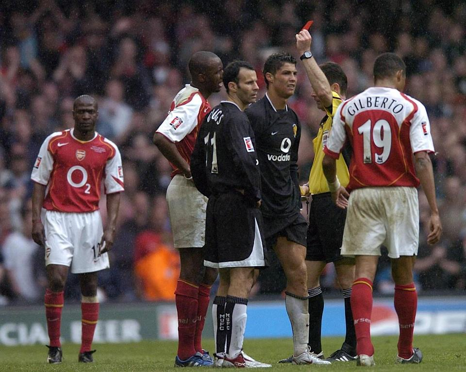 Referee Rob Styles shows the red card to Arsenal's Jose Antonio Reyes in 2005's FA Cup final. (Photo by Rebecca Naden - PA Images/PA Images via Getty Images)