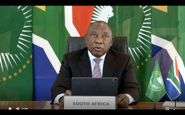 PHOTO: South African President Cyril Ramaphosa delivering a speech via video link at the opening of the World Health Assembly virtual meeting from the WHO headquarters in Geneva, amid the COVID-19 pandemic, caused by the novel coronavirus, May 18, 2020. (World Health Organization/AFP via Getty Images, FILE)