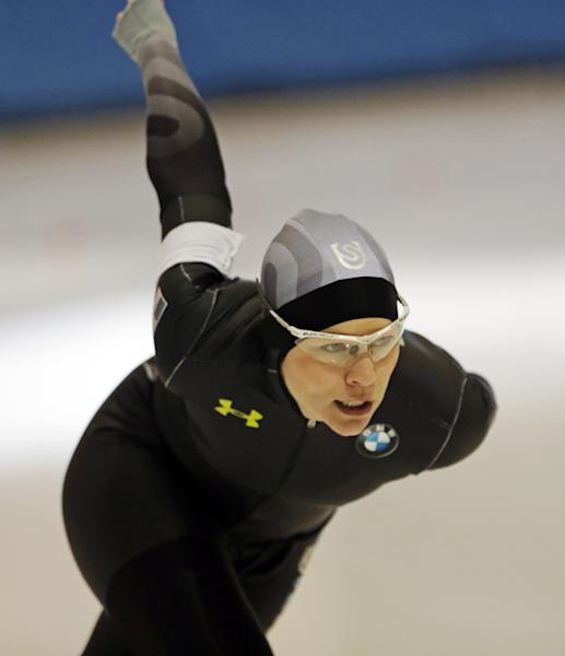 Speedskater Bridie Farrell competes in the 1000-meter race at the Long Track American Cup Final North American Championship Friday, March 1, 2013, in Kearns, Utah. U.S. Speedskating began an investigation Friday into the report of a female skater accusing former Olympian and organization president Andy Gabel of sexual abuse in the 1990s. Farrell told public radio station WUWM in Milwaukee that she had sexual contact with Gabel repeatedly over several months in 1997 and 1998 while both were training in New York and Michigan. When the alleged abuse began, she was 15 and Gabel was 33.(AP Photo/Rick Bowmer)