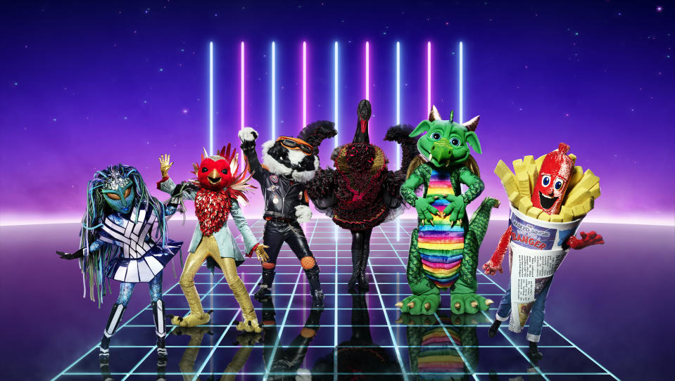 The Masked Singer: SR2 on ITV Pictured: Alien, Robin, Badger, Swan, Dragon and Sausage [all appearing in Ep1]. (ITV Plc)