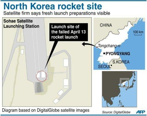 Graphic showing the Sohae Satellite Launch Station in North Korea, showing increased activity and possible preparations for a new missile test, according to satellite firm DigitalGlobe Inc