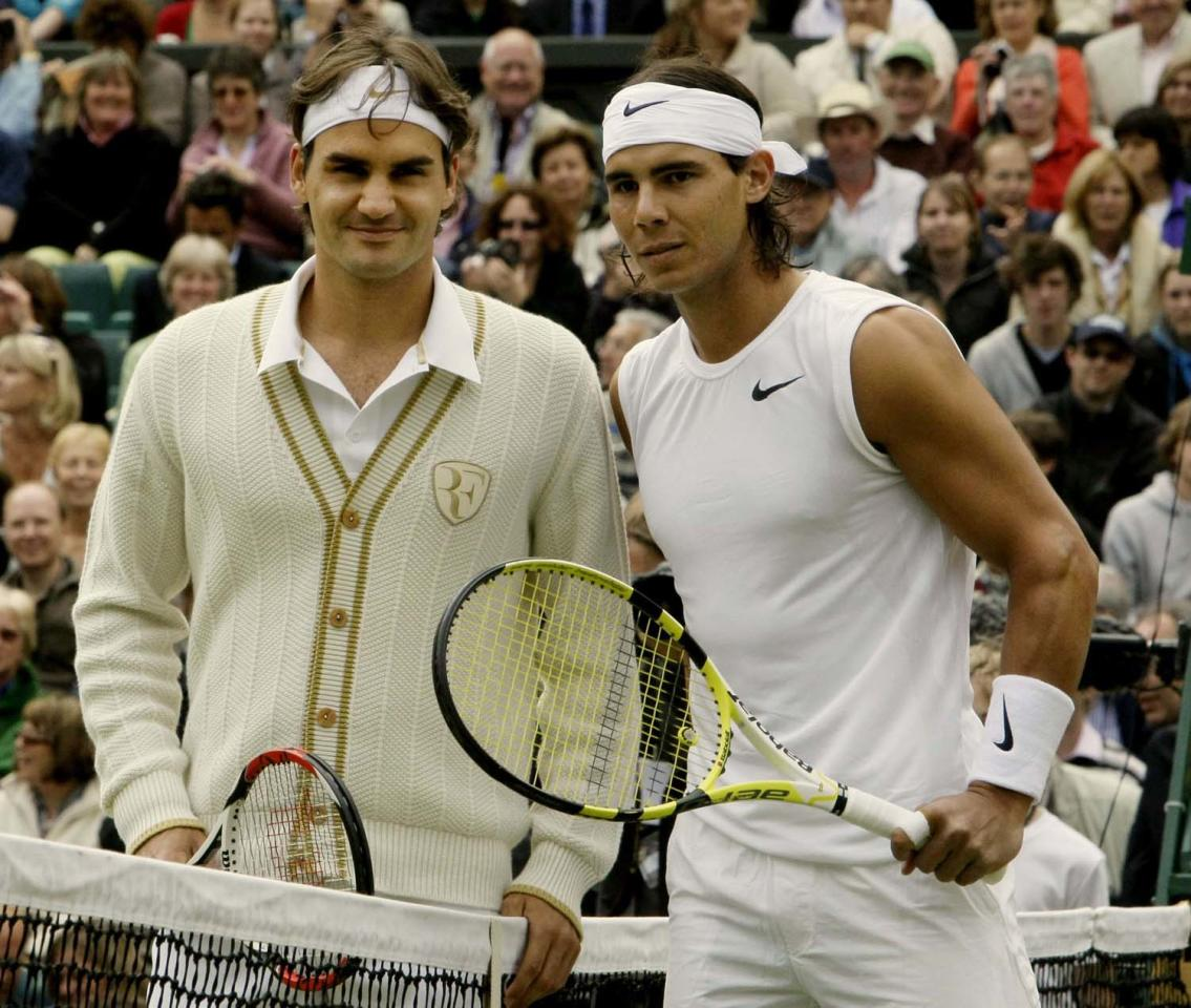 Switzerland's Roger Federer left, and Spain's Rafael Nadal pose for a photo prior to the start of the men's singles final on the Centre Court at Wimbledon, Sunday July 6 , 2008. (AP Photo/Anja Niedringhaus)
