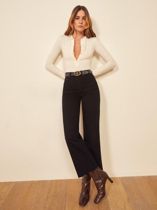 Emma High Rise Wide Leg Jeans. Image via Reformation.