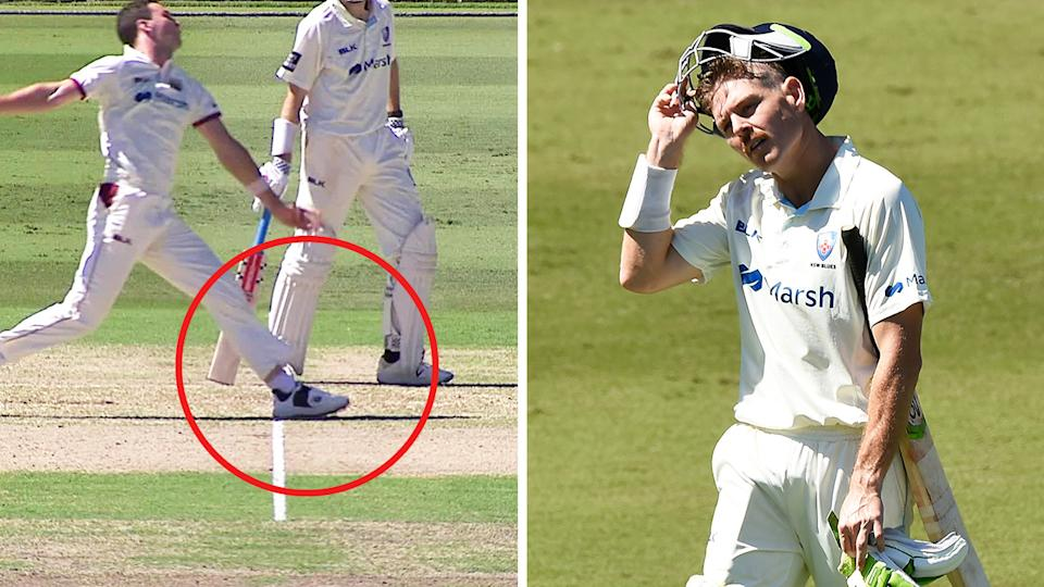 Queensland's Jack Wildermuth (pictured left) bowling and Daniel Hughes (pictured right) walking off after being dismissed.
