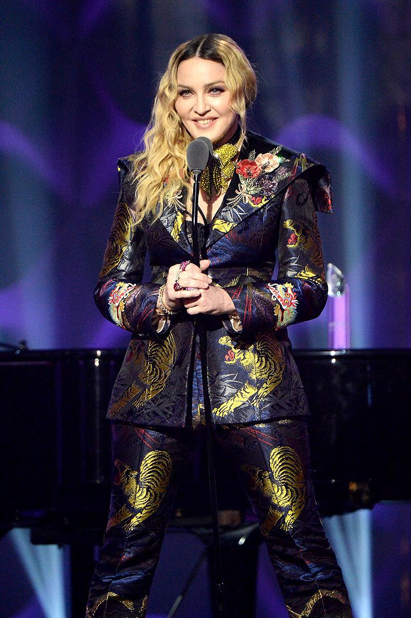 <p>Madonna, 58, is tied with Streisand for the most multiplatinum albums (12) by a female artist. Madonna's top sellers are her 1984 sophomore album, Like a Virgin, and her 1990 compilation, The Immaculate Collection (10 million each). (Photo: Kevin Mazur/Getty Images for Billboard Magazine) </p>