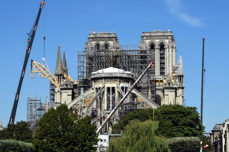 Work to secure the cathedral was suspended on July 25 to allow for decontamination of the lead that had spread during the fire (AFP Photo/BERTRAND GUAY)