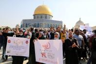 Palestinians protest over Prophet Mohammad cartoon, after Friday prayers in Jerusalem's Old City