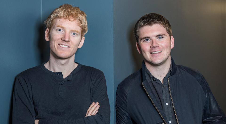 Stripe founder Patrick Collison, left, and brother John. Photo: Stripe