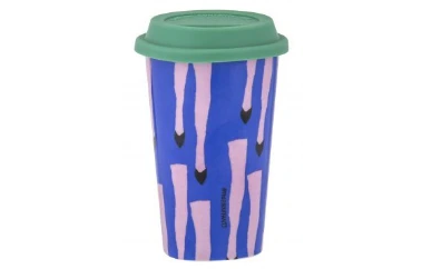 green and purple coffee cup