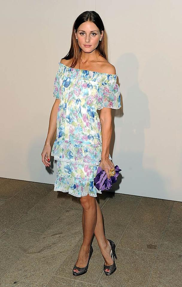 """Bringing up the rear at Fashion's Night Out was """"The City's"""" resident hottie Olivia Palermo, who looked far from fabulous in this grotesque, grandma-esque floral frock. Stephen Lovekin/<a href=""""http://www.gettyimages.com/"""" target=""""new"""">GettyImages.com</a> - September 7, 2010"""